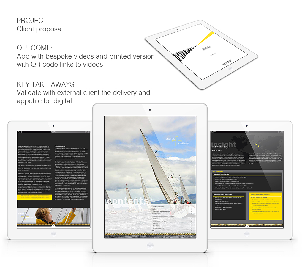Branded Business Development Client Pitch - iPad, UX/UI Design